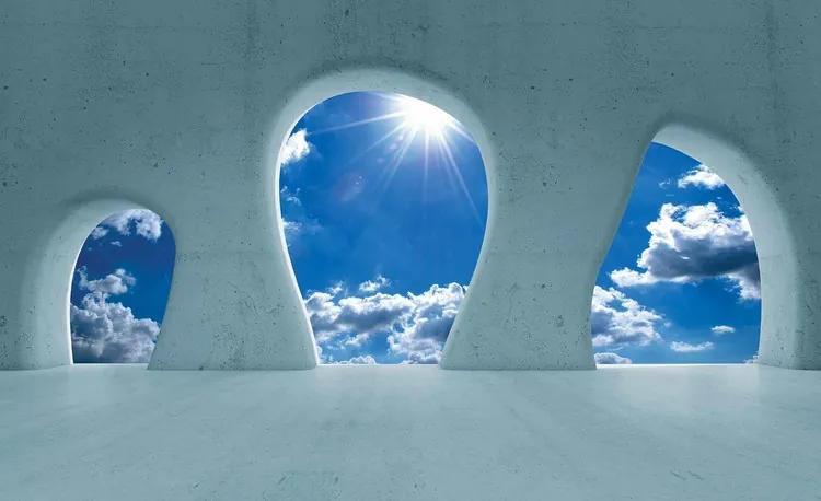 Blue Sky View Modern Fototapet, (254 x 184 cm)
