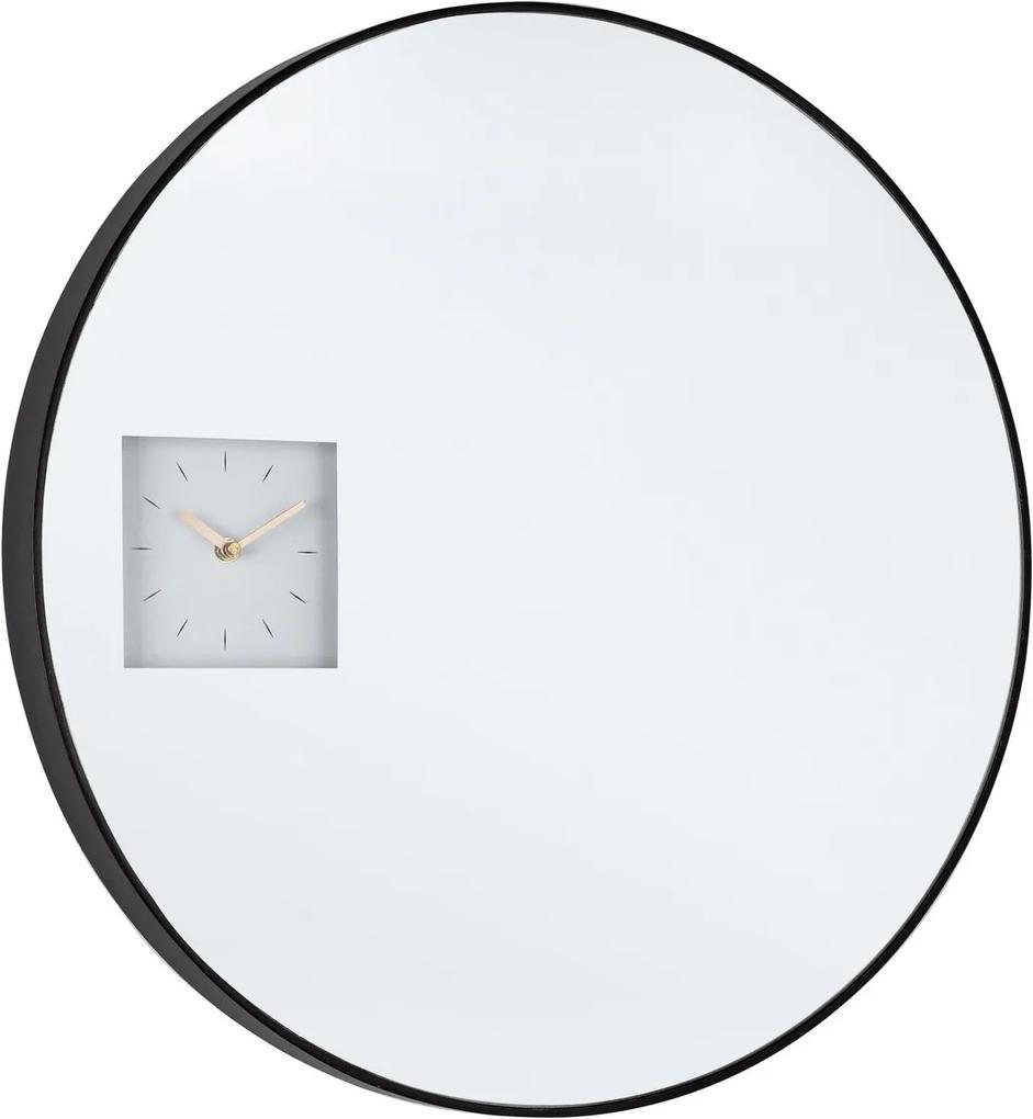 Oglinda de perete cu ceas incorpoat rama neagra Glace 60 cm x 4.5 cm