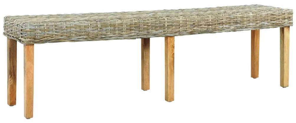 285795 vidaXL Bancă, 160 cm, ratan kubu natural & lemn masiv de mango