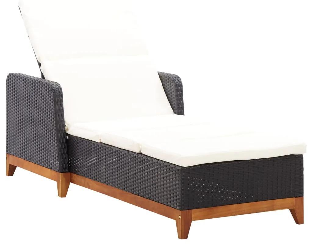 46012 vidaXL Șezlong, negru, poliratan și lemn masiv de acacia