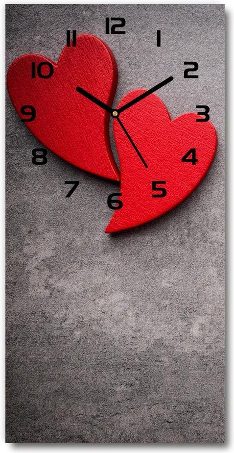 Ceas de sticlă pe perete vertical Inimi roșii