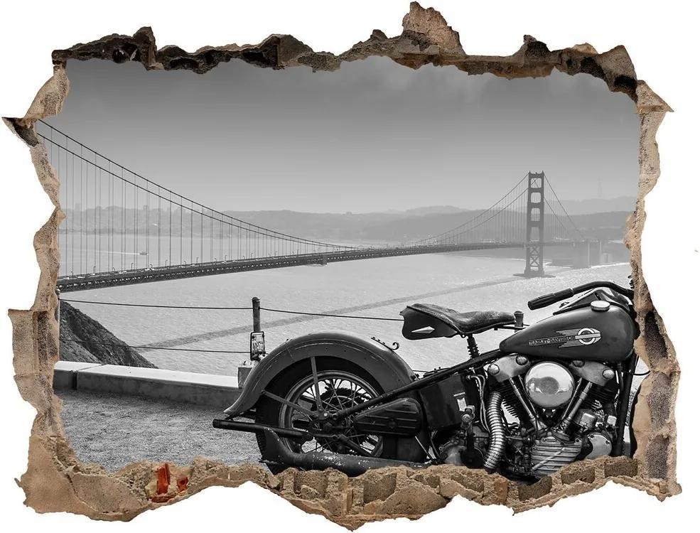 Autocolant un zid spart cu priveliște Motocicletă