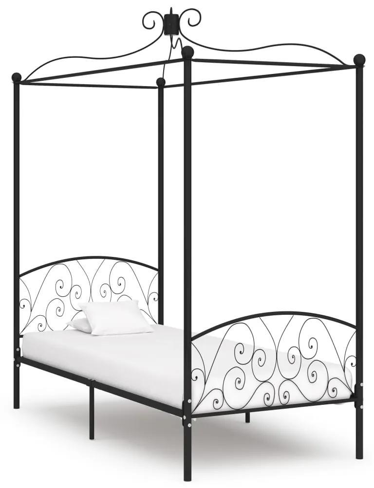 284475 vidaXL Cadru de pat cu baldachin, negru, 100 x 200 cm, metal