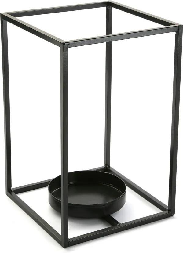 Suport lumânare Versa Cube, înălțime 29,5 cm, negru