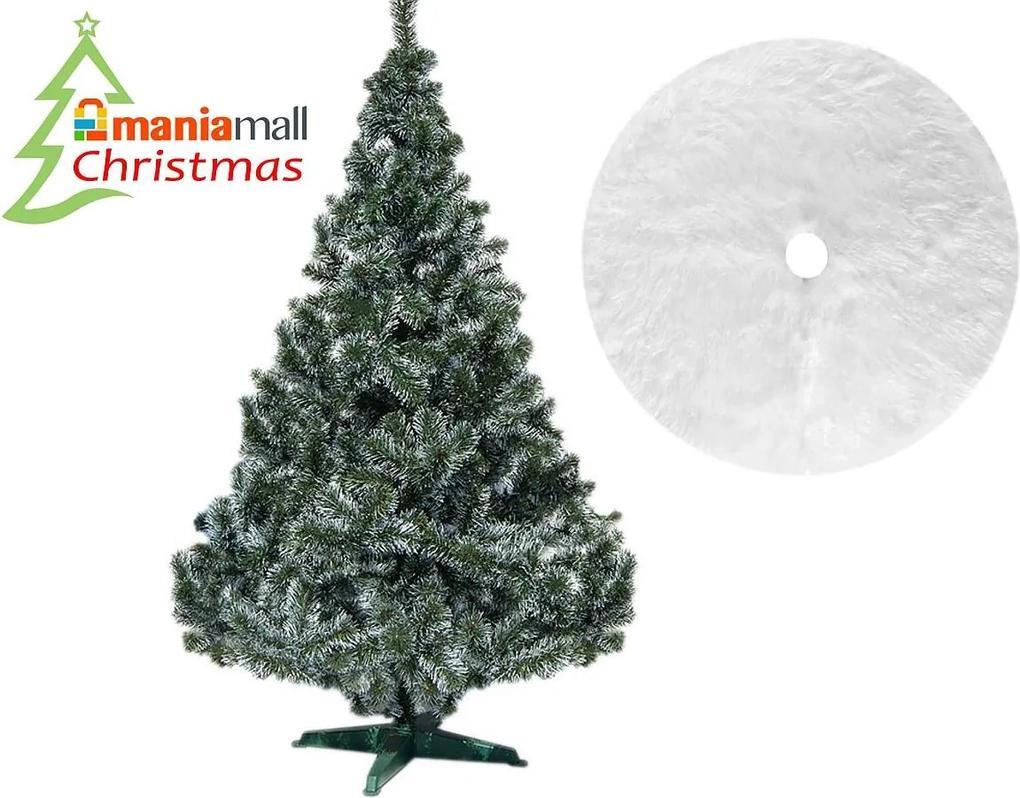 Brad artificial de Craciun, Verde Alaska cu Alb la Varfuri 220 cm cu suport  Si Covor rotund din blana artificiala, diametru 122 cm, alb