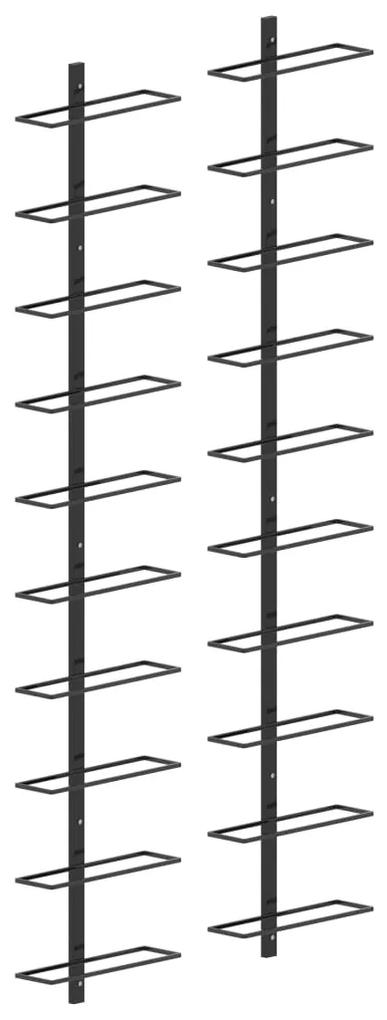 289567 vidaXL Suporturi sticle de vin de perete 20 sticle 2 buc. negru metal