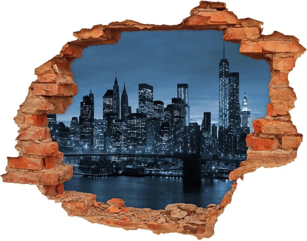 Autocolant gaură 3D New York pe timp de noapte