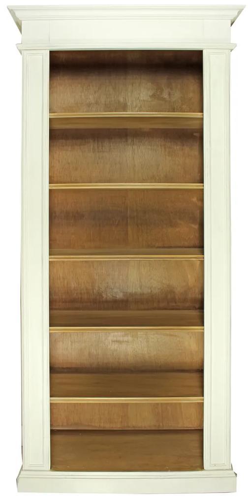 Biblioteca Grace din lemn alb cu maro 93x40x205 cm