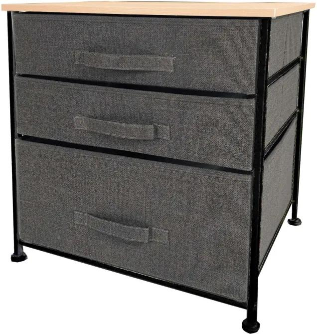 Comoda metalica cu 3 sertare si organizator, material textil, 48 x 40 x 53 cm