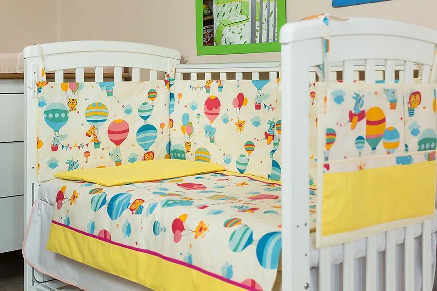 Lenjerie patut bebe cu galben 3 piese Balonase 140 x 70 cm