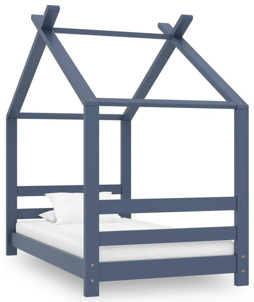 289613 vidaXL Cadru de pat pentru copii, gri, 70 x 140 cm, lemn masiv de pin