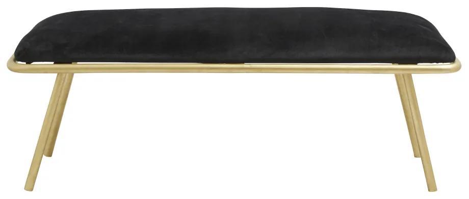 Bancheta catifea neagra si picioare aurii Warm Black