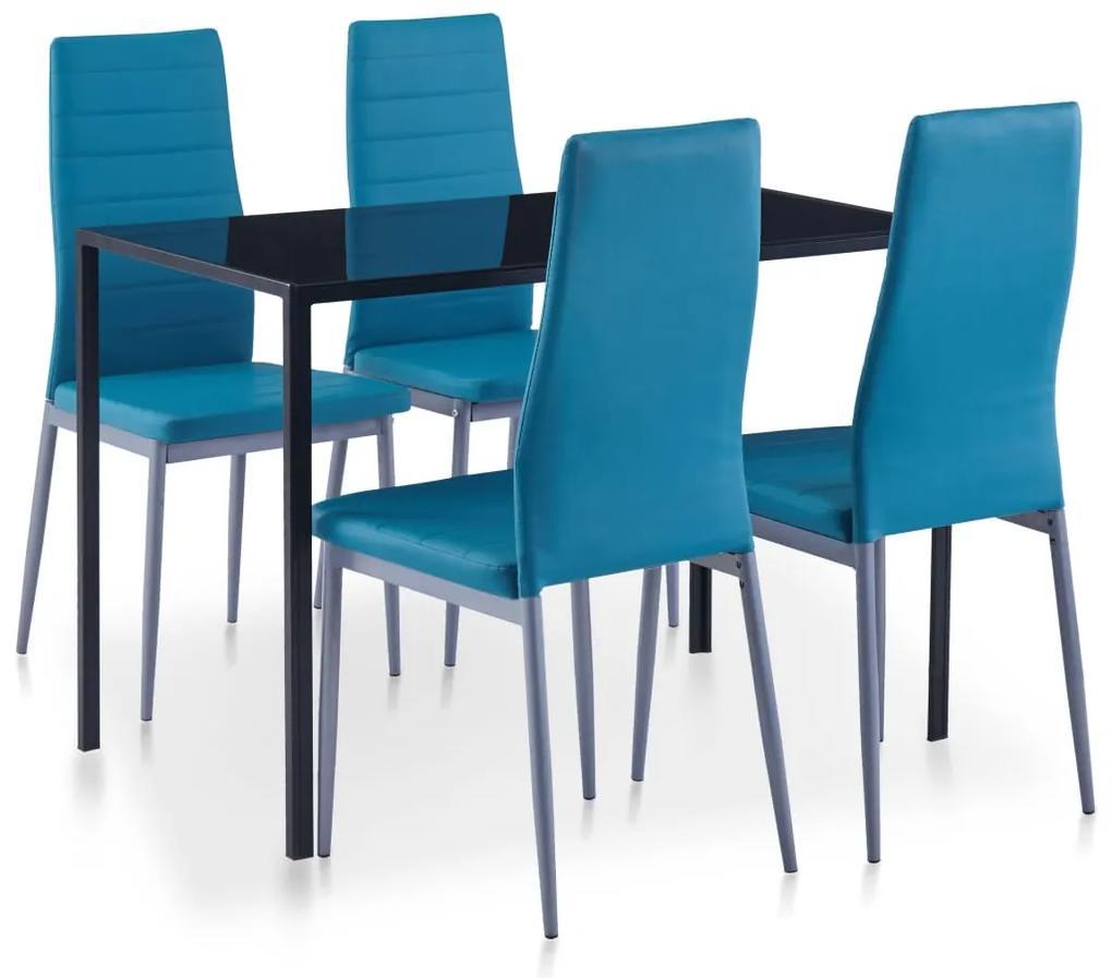 281703 vidaXL Set mobilier de bucătărie, 5 piese, albastru