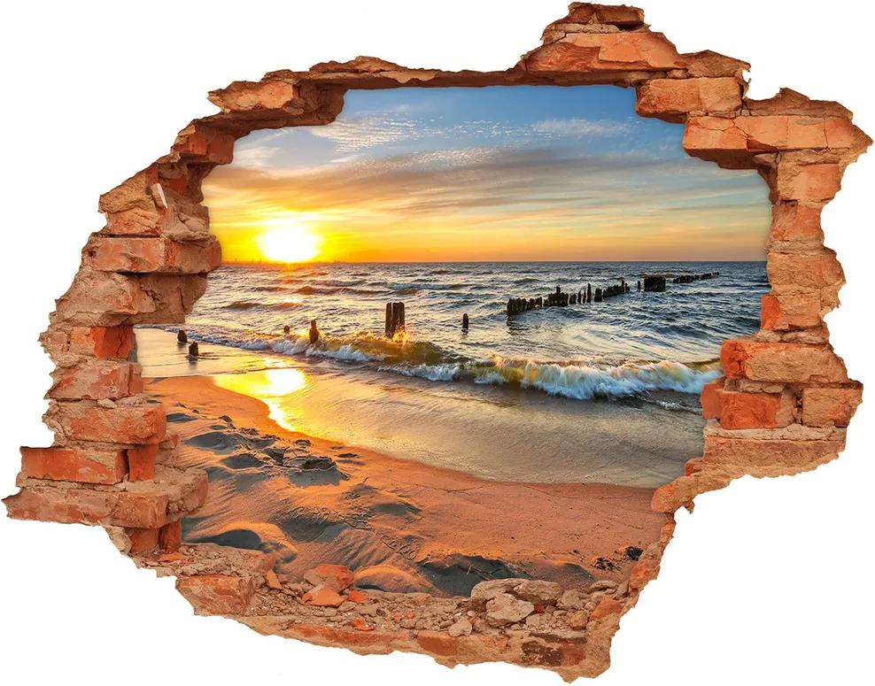 Fototapet 3D gaură în perete Sunset Beach