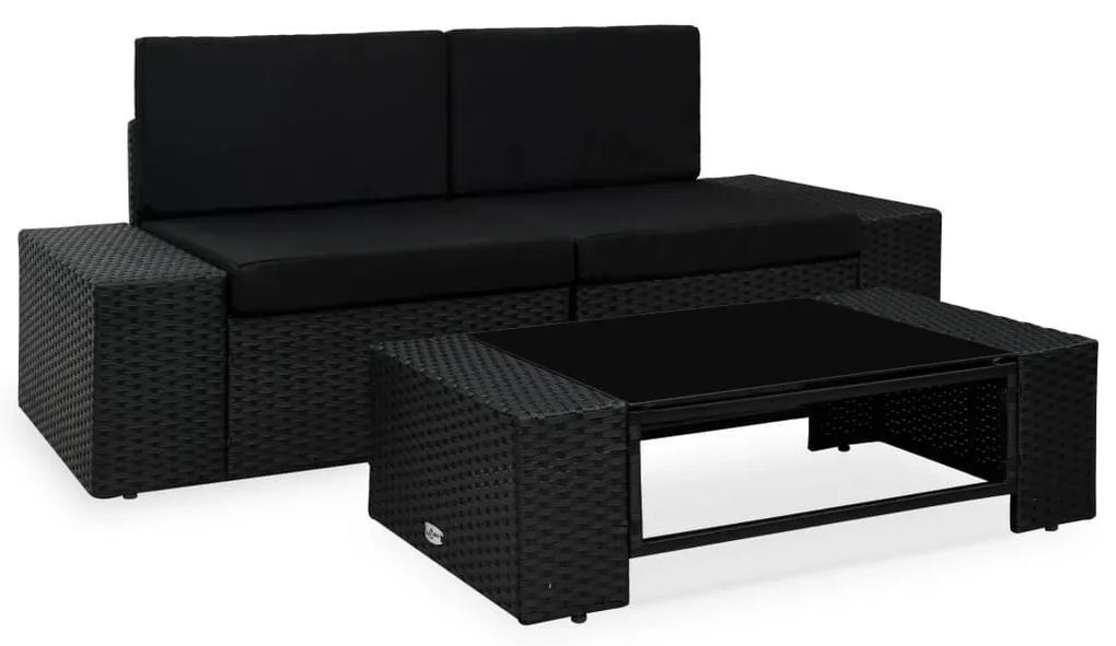 49507 vidaXL Set mobilier de grădină, 3 piese, negru, poliratan