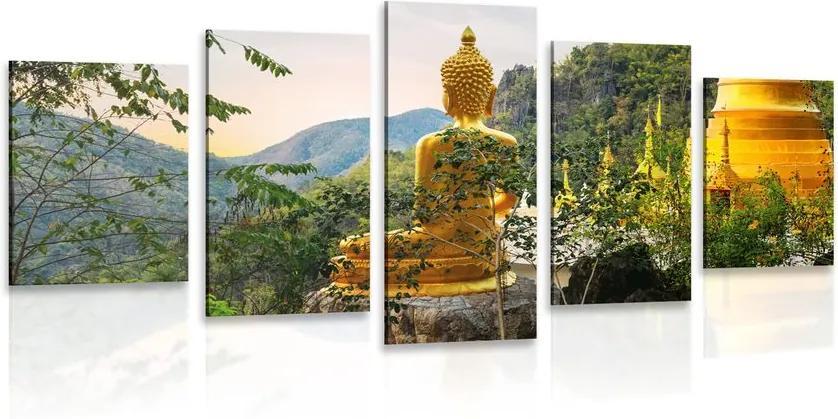 Tablou 5-piese vedere la Buddha de aur