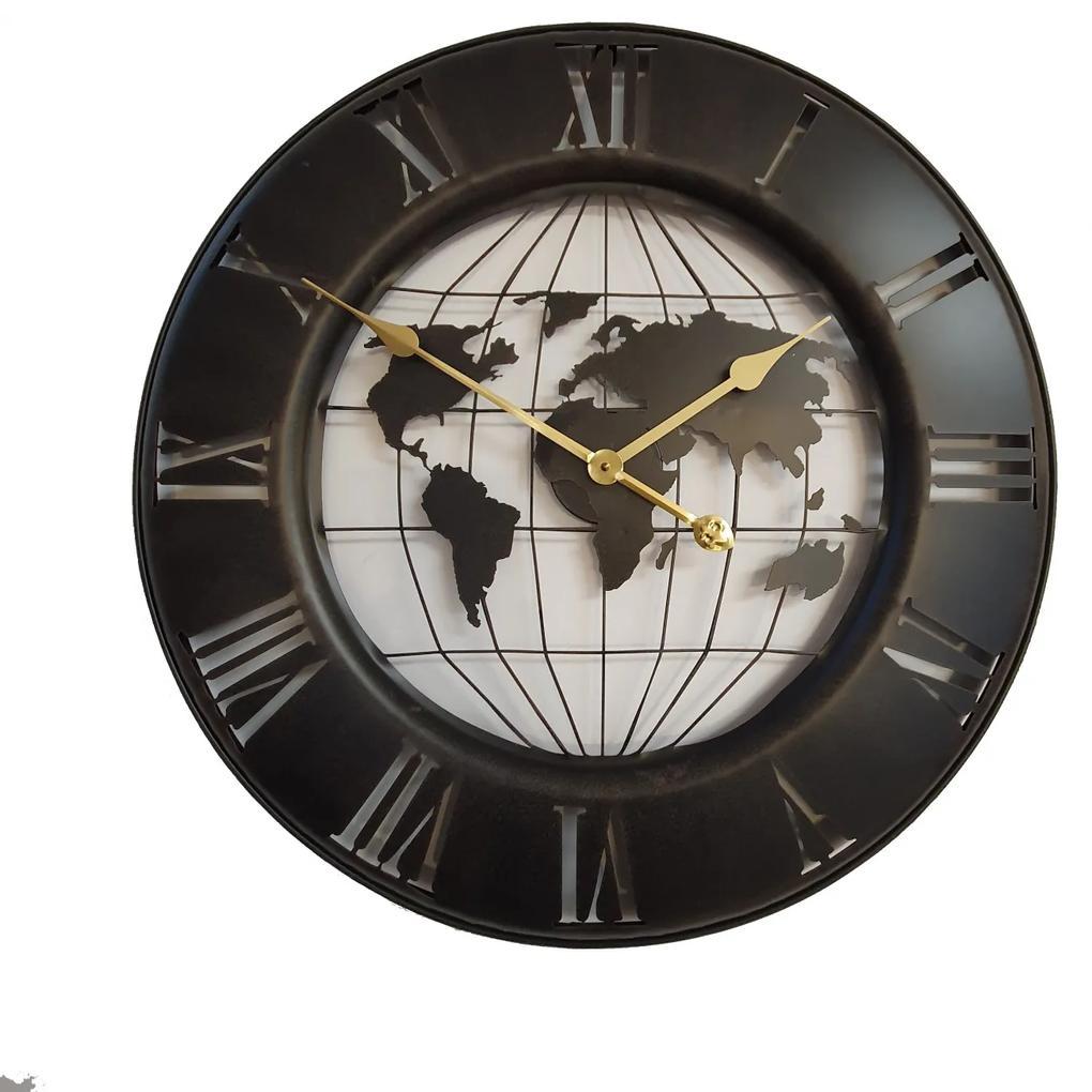 Ceas de perete Metal,Negru,Harta Lumii 63x4,5 cm