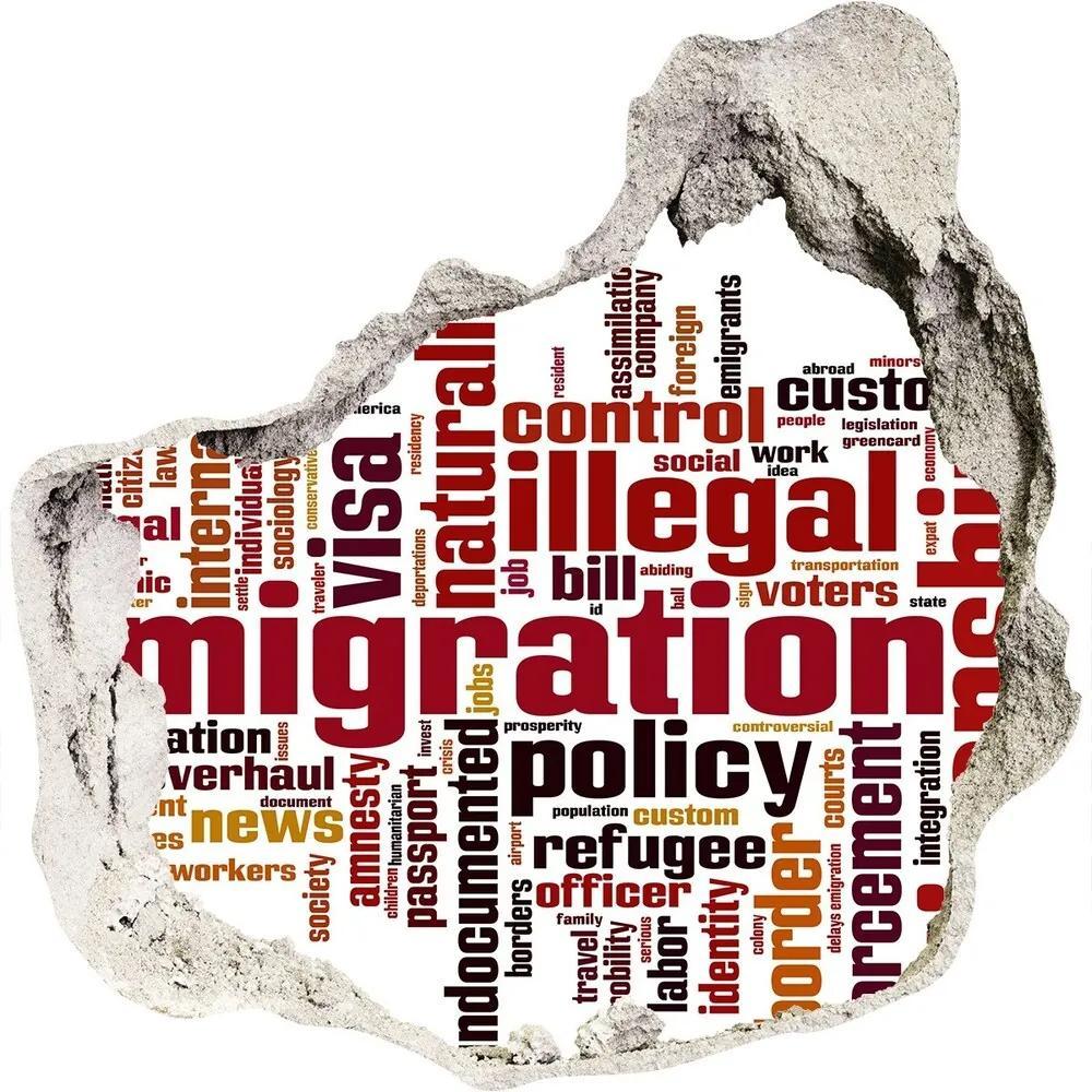 Autocolant de perete gaură 3D Imigrare