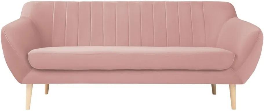 Canapea cu tapițerie din catifea Mazzini Sofas Sardaigne, 188 cm, roz deschis