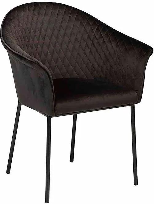 Scaun dining negru din catifea Kite Meteorite Black Dan Form