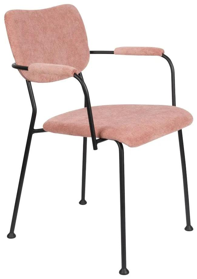 Scaun cu manere din catifea roz Benson Pink