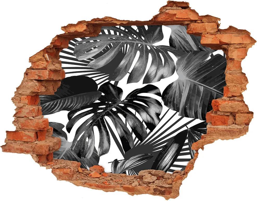 Autocolant un zid spart cu priveliște Frunze tropicale