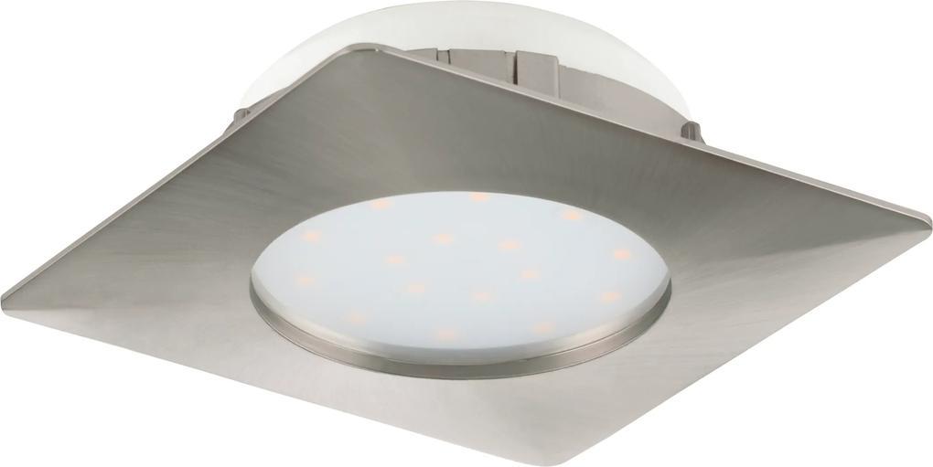 Spot incastrat PINEDA, 95863, LED, 12W, L 102, l 102, 1000 Lumeni, 3000 K (Calda), Plastic / Nichel satinat