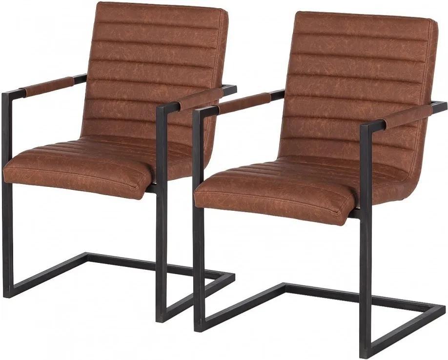 Set de 2 scaune Kaledos imitatie piele/metal, maro, 59 x 85 x 55 cm