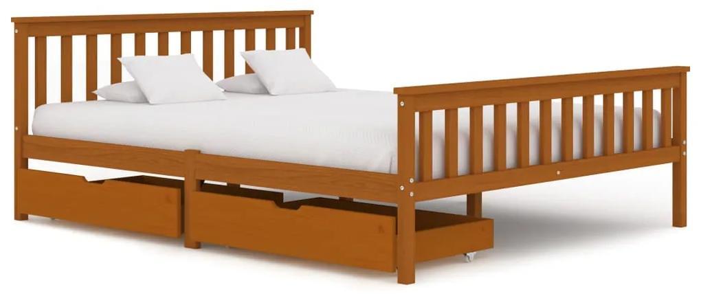 3060532 vidaXL Cadru de pat cu 2 sertare, maro miere 160x200 cm lemn masiv pin