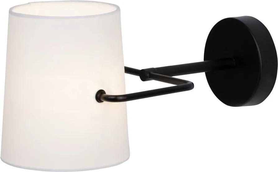 Veioza de perete Bucket bumbac/fier, alb, 1 bec