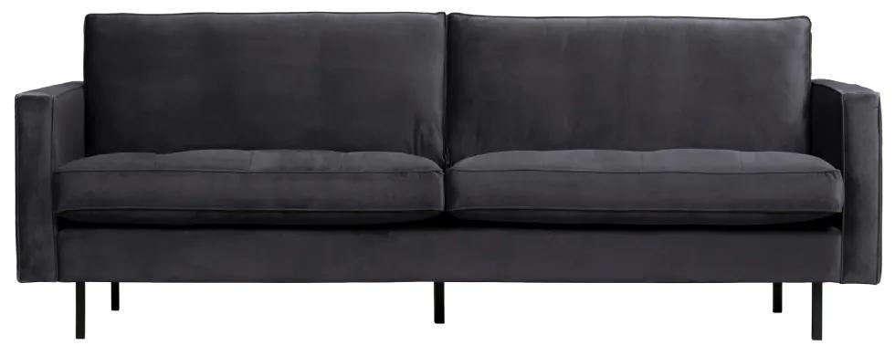 Canapea din catifea gri inchis Rodeo Classic Sofa Dark Grey