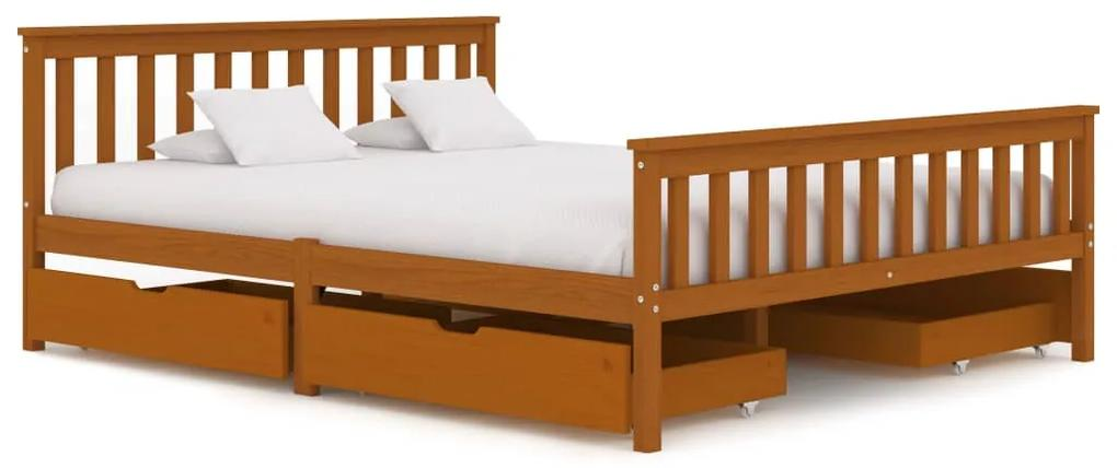 3060535 vidaXL Cadru de pat cu 4 sertare maro miere 160x200 cm lemn masiv pin