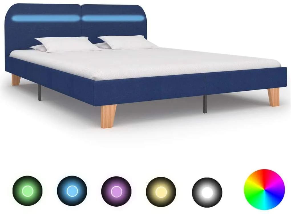 Cadru de pat cu LED-uri, albastru, 180x200 cm, material textil