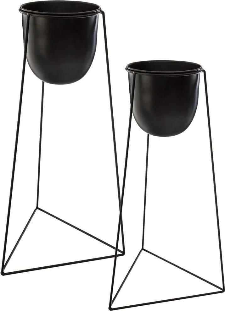 Suport modern pentru ghivece pe un trepied, 2 bucăți, negru