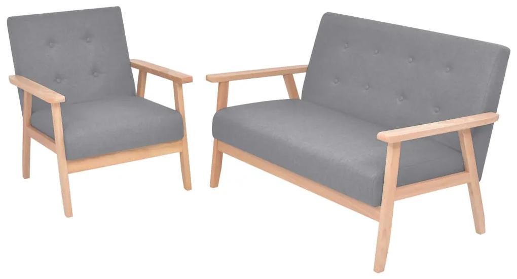 272220 vidaXL Set cu canapea, 2 piese, material textil, gri deschis
