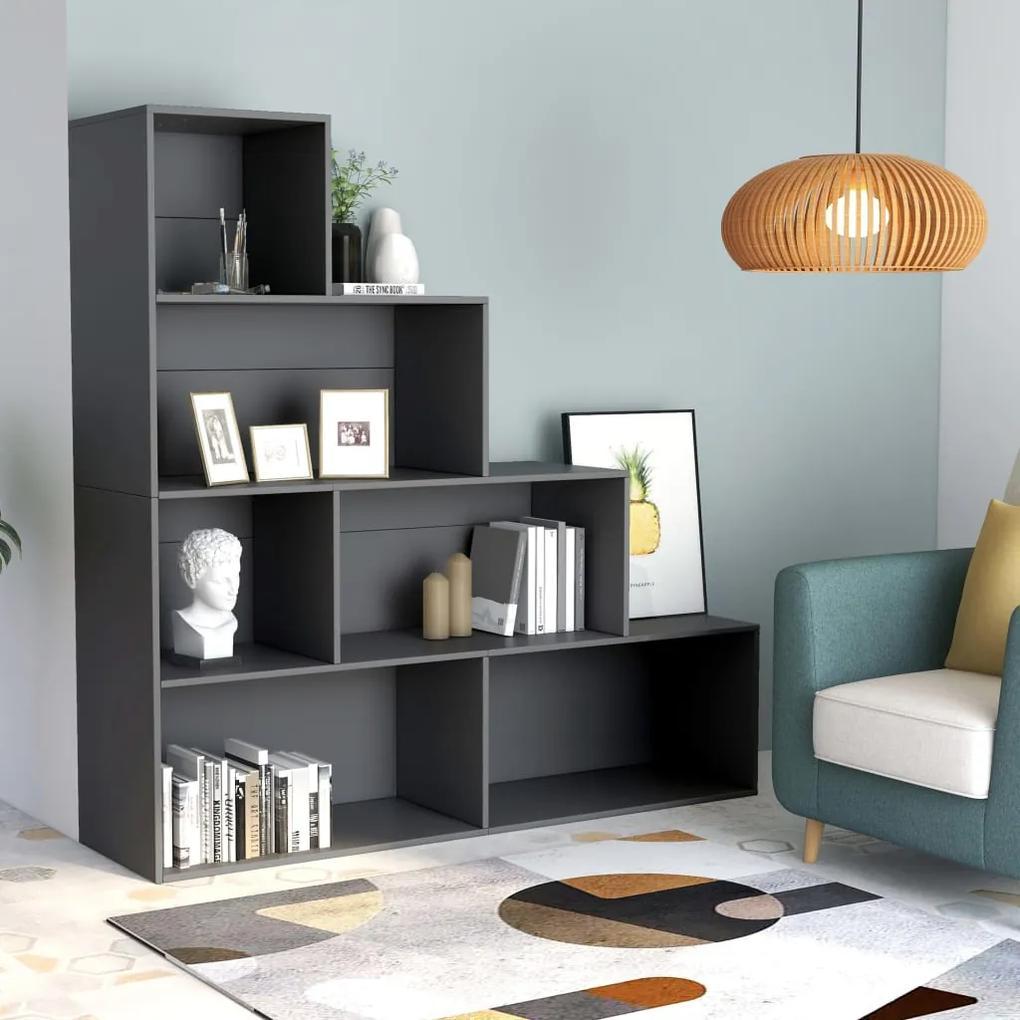 800659 vidaXL Bibliotecă/Separator cameră, gri, 155x24x160 cm, PAL