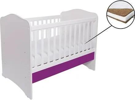 Patut din Lemn Pentru Copii Como fara sertar - Alb cu Violet + Saltea Cocos 7 cm