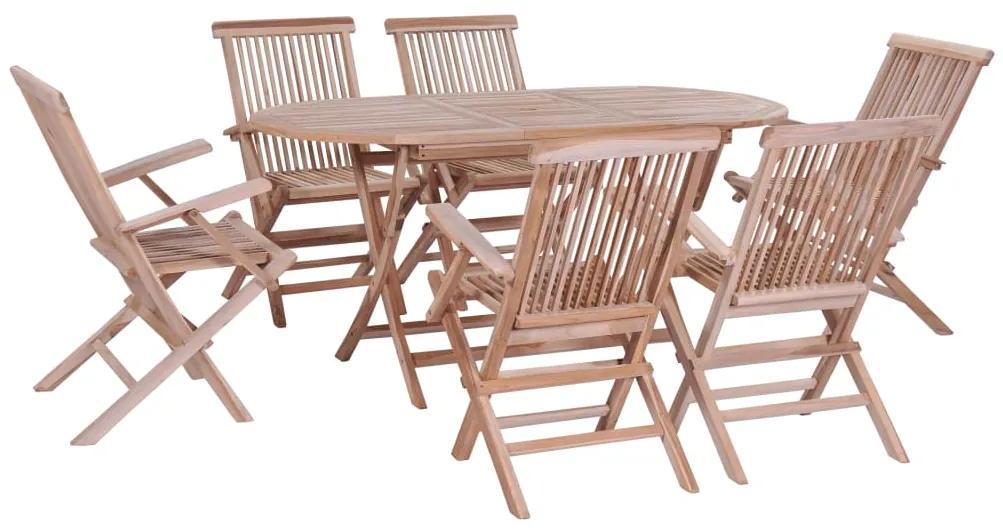 44659 vidaXL Set mobilier de exterior pliabil, 7 piese, lemn masiv de tec
