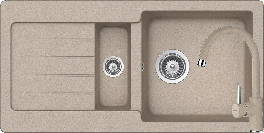 Set Chiuveta Schock Typos D-150S 860 x 435 mm si Baterie Schock Plutos Sabbia Cristalite