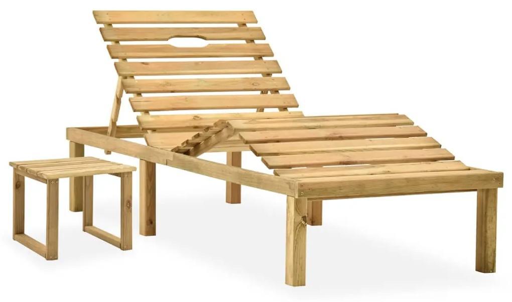 315397 vidaXL Șezlong de grădină cu masă, lemn de pin tratat