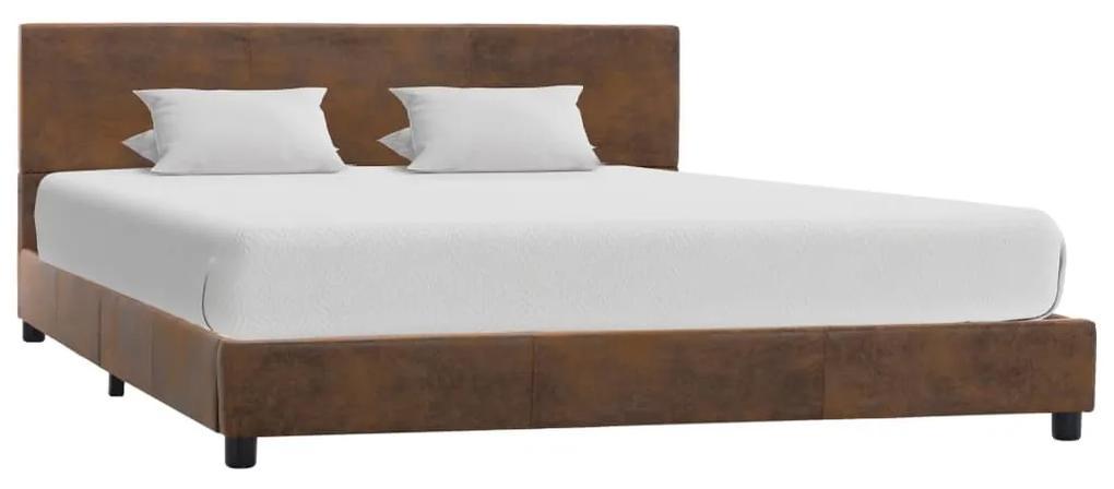 284783 vidaXL Cadru de pat, maro, 140 x 200 cm, velur ecologic