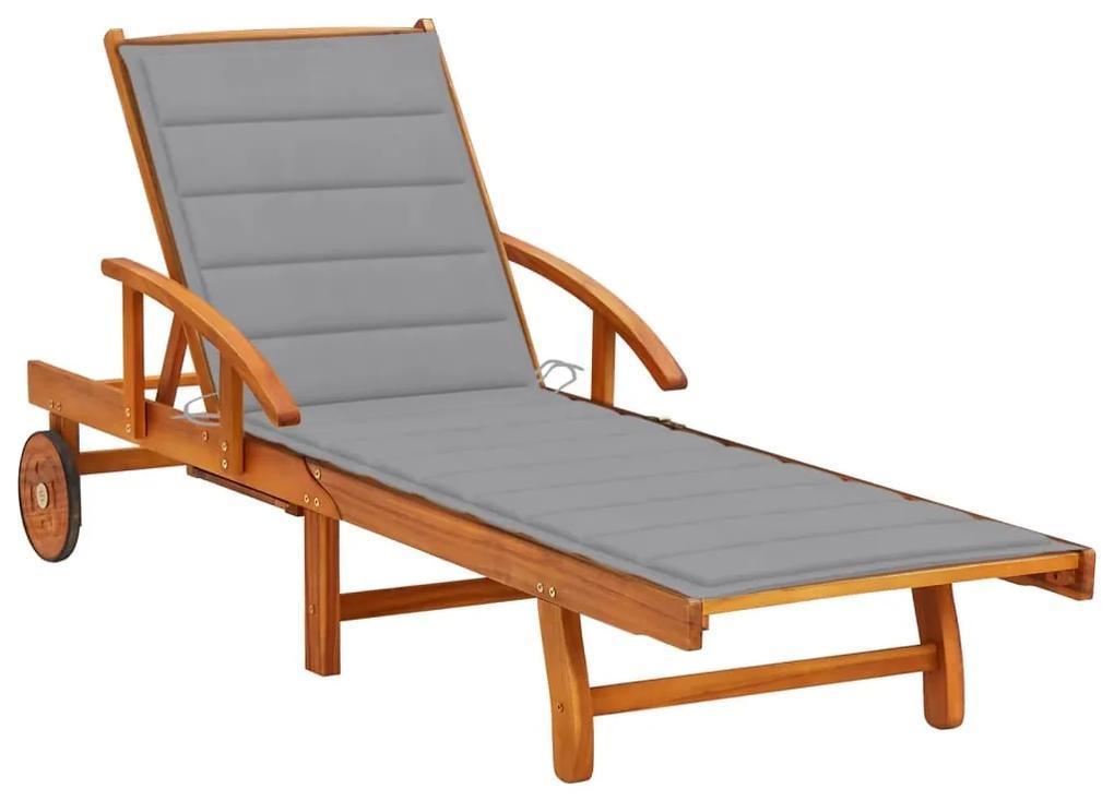 3061603 vidaXL Șezlong de grădină cu pernă, lemn masiv de acacia