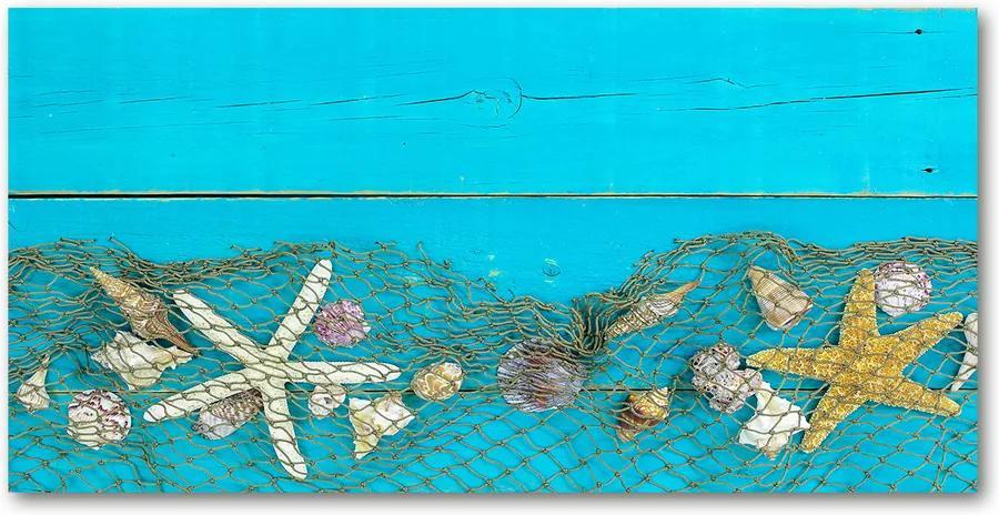Tablou sticlă acrilică Starfish și scoici