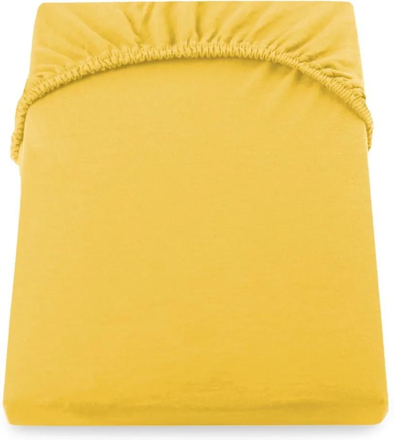 Cearșaf de pat cu elastic DecoKing Nephrite, 160–180 cm, galben