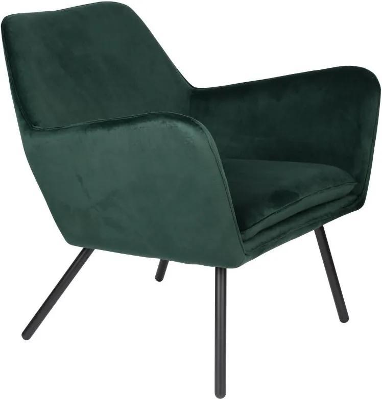 Fotoliu din catifea verde Lounge Chair Bon Velvet Green