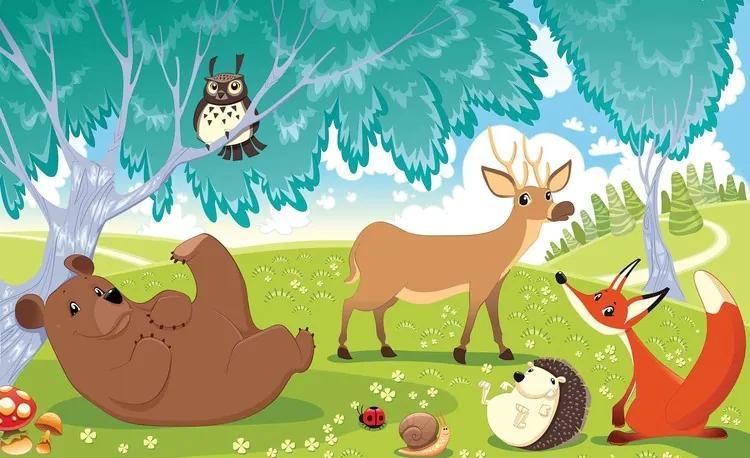 Animals In Forest Fototapet, (416 x 254 cm)