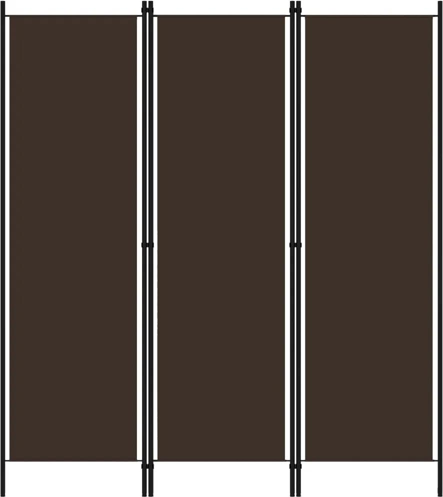 Paravan de camera cu 3 panouri, maro, 150 x 180 cm