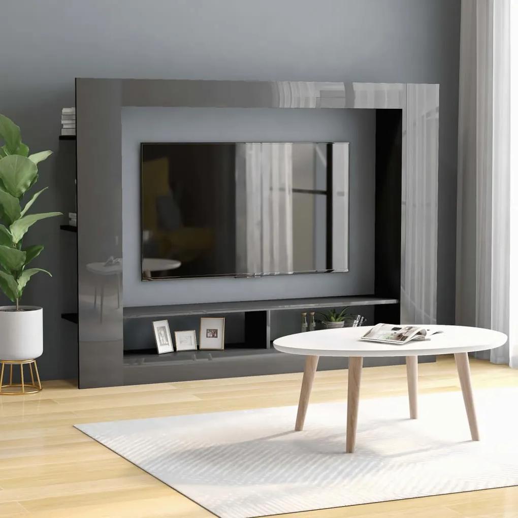 800746 vidaXL Comodă TV, gri lucios, 152 x 22 x 113 cm, PAL