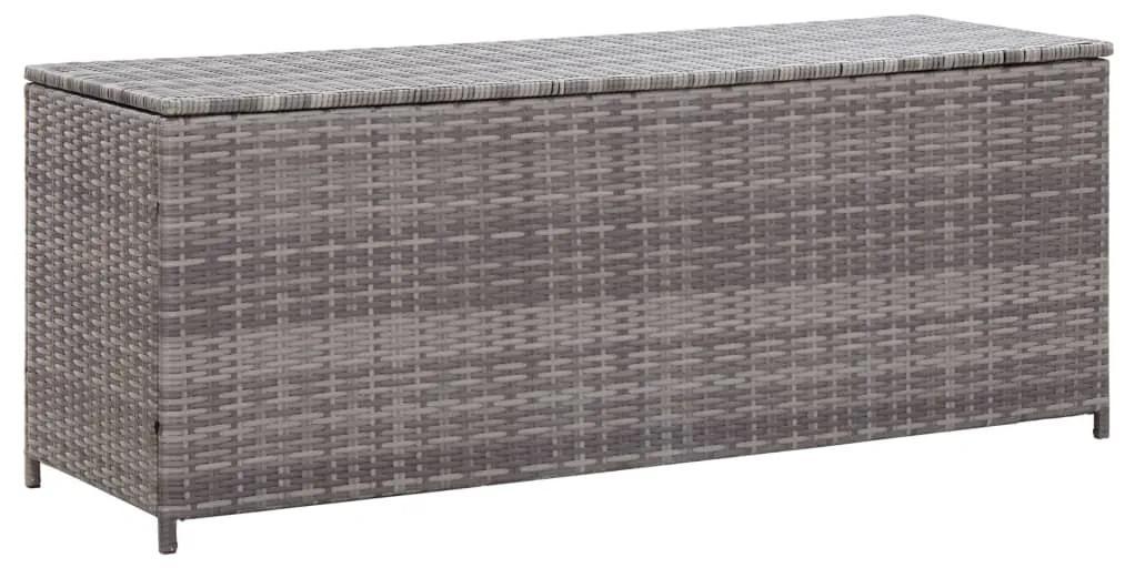 46462 vidaXL Ladă de depozitare de grădină, gri, 150x50x60 cm, poliratan