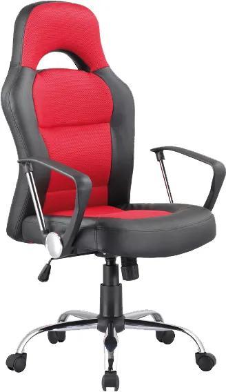 Scaun birou rotativ rosu/negru din piele ecologica | PRIMERA COLLECTION